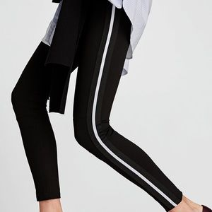 Zara leggings with white stripe